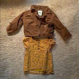 Oshkosh Outfit 18 months Fox shirt Moto jacket